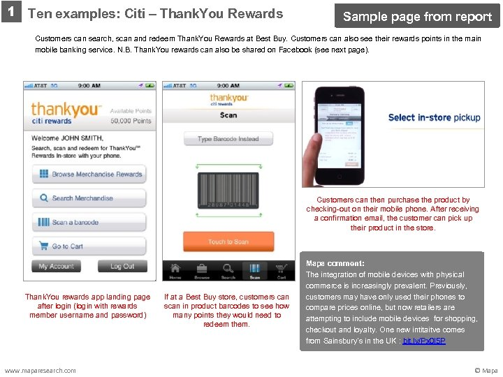 1 Ten examples: Citi – Thank. You Rewards Sample page from report Customers can