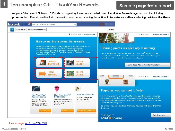 1 Ten examples: Citi – Thank. You Rewards Sample page from report As part