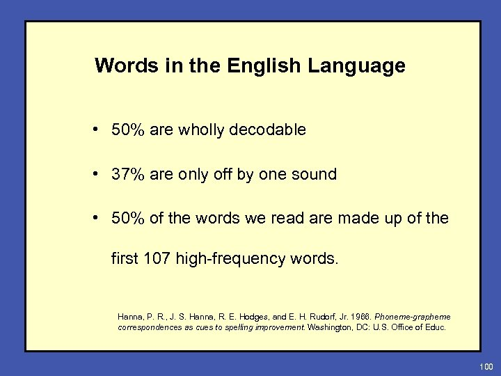 Words in the English Language • 50% are wholly decodable • 37% are only