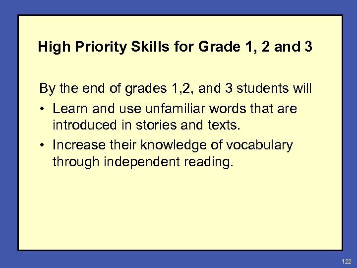 High Priority Skills for Grade 1, 2 and 3 By the end of grades