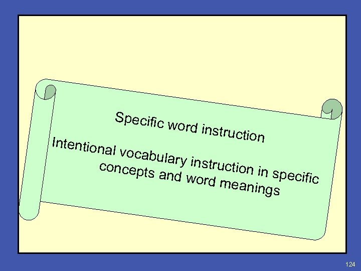 Specific Intention word ins truction al vocab ulary ins truction i concepts n specifi
