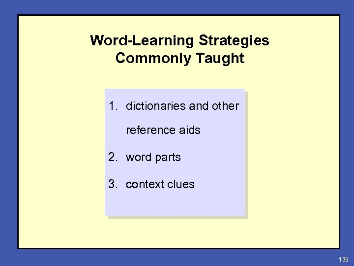 Word-Learning Strategies Commonly Taught 1. dictionaries and other reference aids 2. word parts 3.