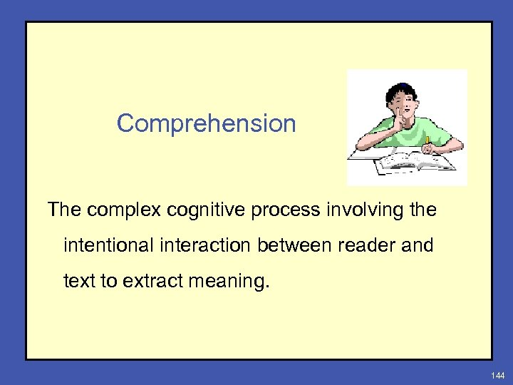Comprehension The complex cognitive process involving the intentional interaction between reader and text to