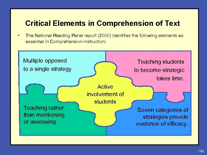 Critical Elements in Comprehension of Text • The National Reading Panel report (2000) identifies