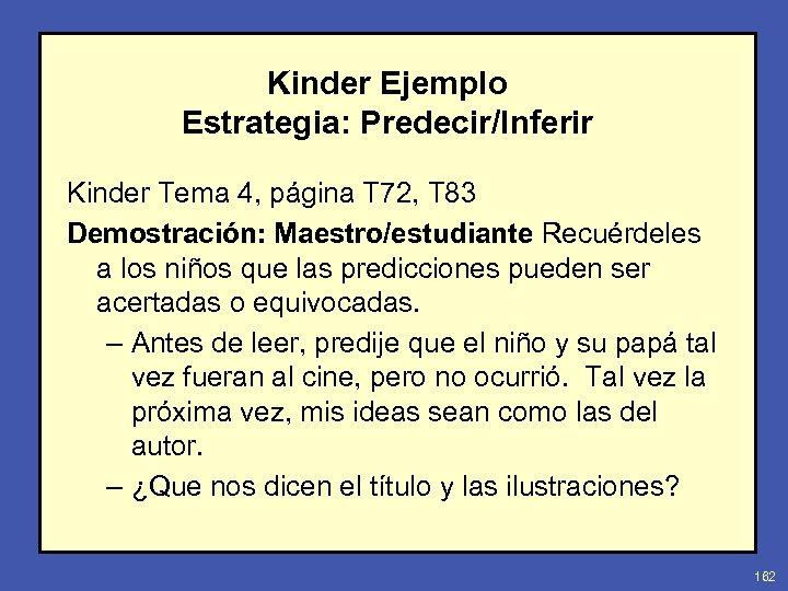Kinder Ejemplo Estrategia: Predecir/Inferir Kinder Tema 4, página T 72, T 83 Demostración: Maestro/estudiante
