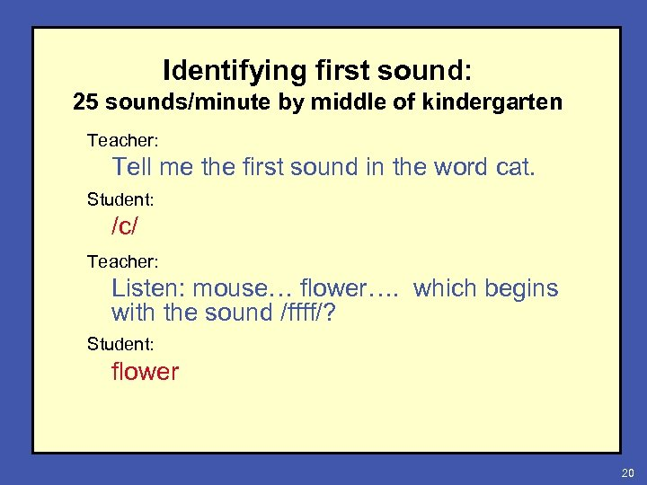 Identifying first sound: 25 sounds/minute by middle of kindergarten Teacher: Tell me the first