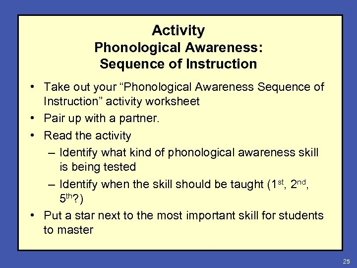 "Activity Phonological Awareness: Sequence of Instruction • Take out your ""Phonological Awareness Sequence of"