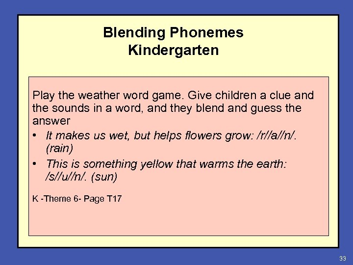Blending Phonemes Kindergarten Play the weather word game. Give children a clue and the