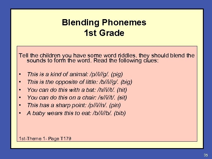 Blending Phonemes 1 st Grade Tell the children you have some word riddles. they