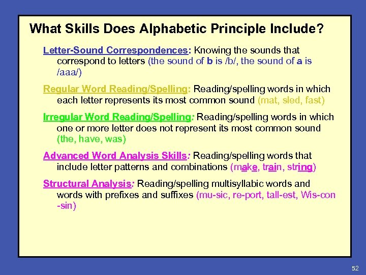 What Skills Does Alphabetic Principle Include? Letter-Sound Correspondences: Knowing the sounds that correspond to