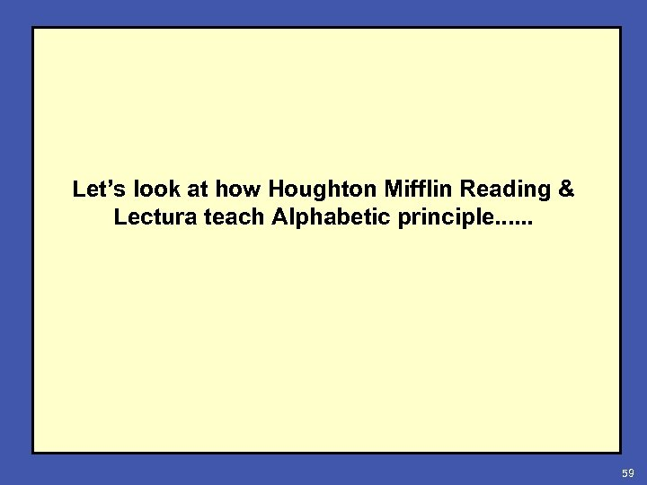 Let's look at how Houghton Mifflin Reading & Lectura teach Alphabetic principle. . .