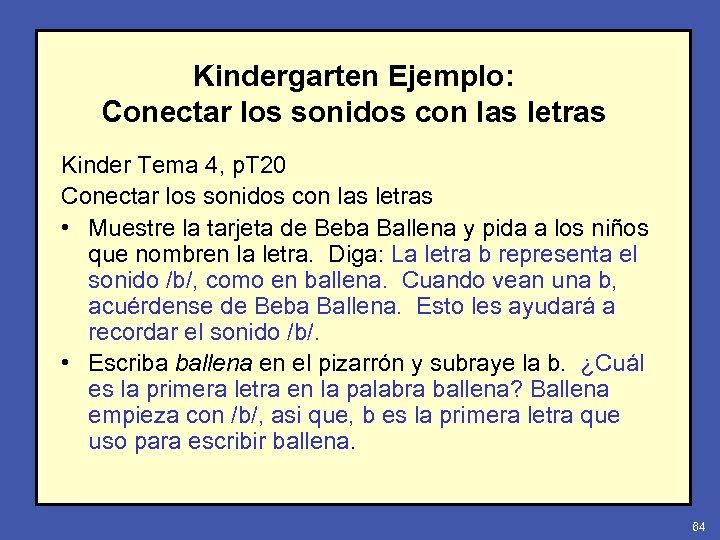 Kindergarten Ejemplo: Conectar los sonidos con las letras Kinder Tema 4, p. T 20