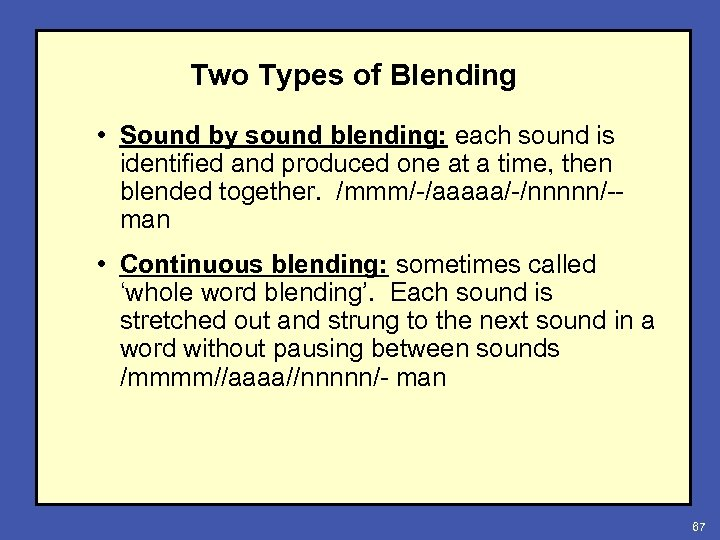 Two Types of Blending • Sound by sound blending: each sound is identified and