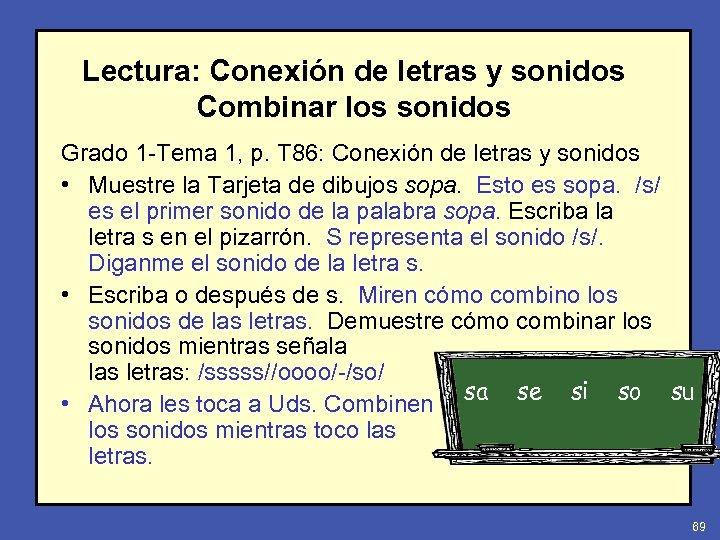 Lectura: Conexión de letras y sonidos Combinar los sonidos Grado 1 -Tema 1, p.