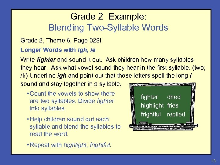 Grade 2 Example: Blending Two-Syllable Words Grade 2, Theme 6, Page 328 I Longer