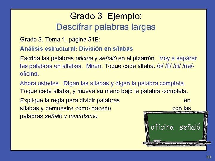 Grado 3 Ejemplo: Descifrar palabras largas Grado 3, Tema 1, página 51 E: Análisis