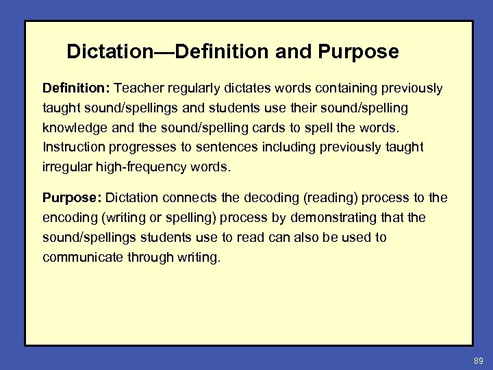 Dictation—Definition and Purpose Definition: Teacher regularly dictates words containing previously taught sound/spellings and students
