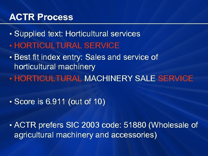 ACTR Process • Supplied text: Horticultural services • HORTICULTURAL SERVICE • Best fit index