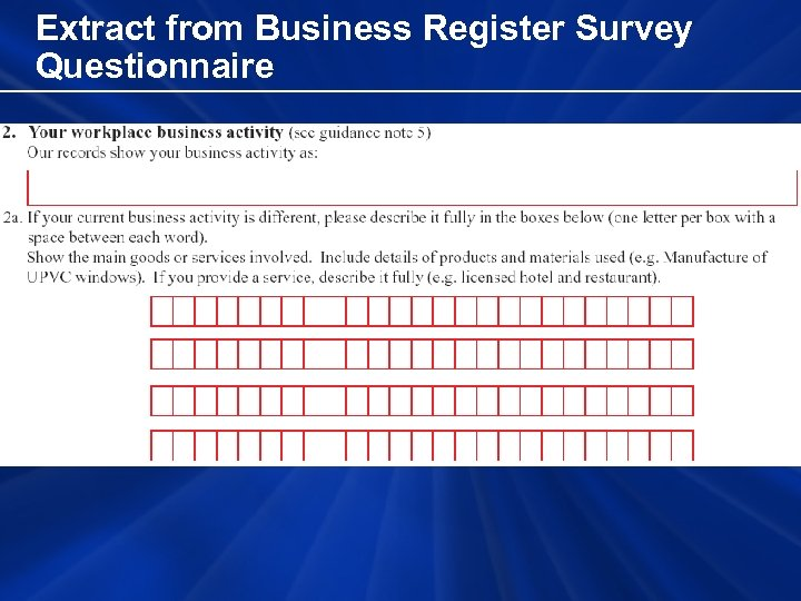 Extract from Business Register Survey Questionnaire