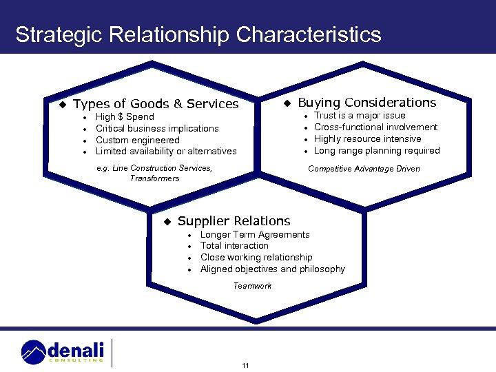 Strategic Relationship Characteristics u Types of Goods & Services l l u High $