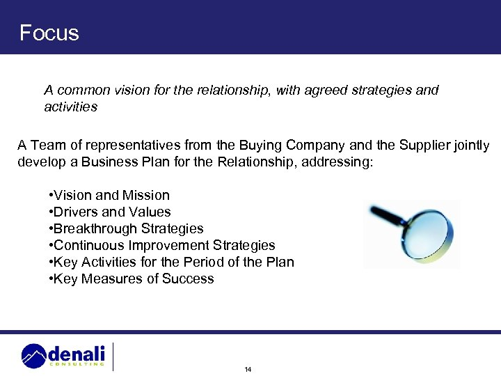 Focus A common vision for the relationship, with agreed strategies and activities A Team