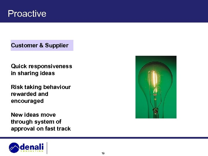 Proactive Customer & Supplier Quick responsiveness in sharing ideas Risk taking behaviour rewarded and