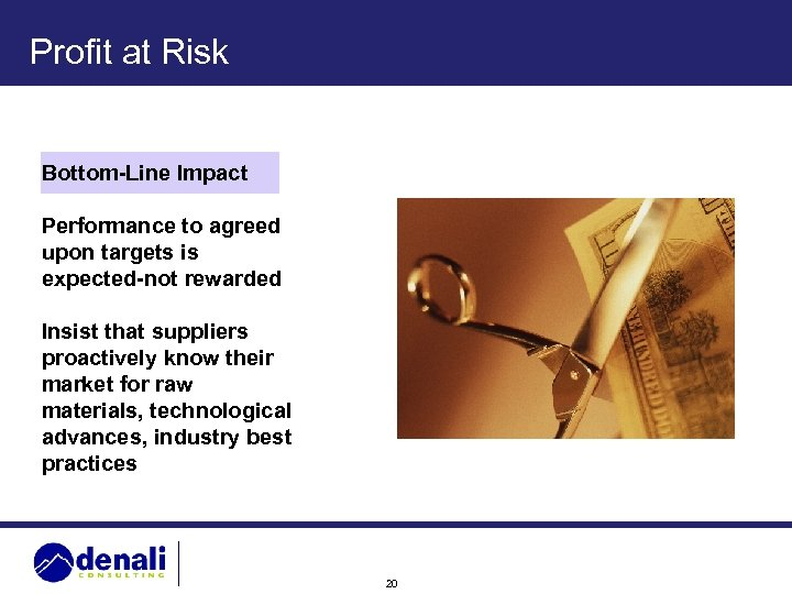 Profit at Risk Bottom-Line Impact Performance to agreed upon targets is expected-not rewarded Insist