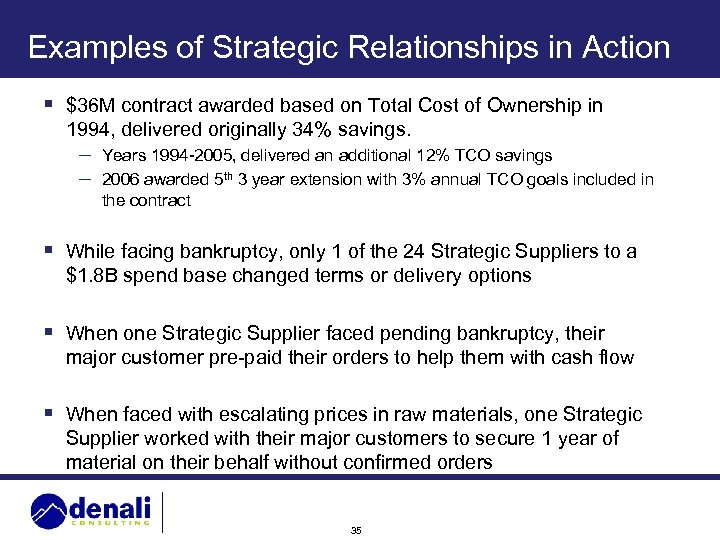 Examples of Strategic Relationships in Action § $36 M contract awarded based on Total