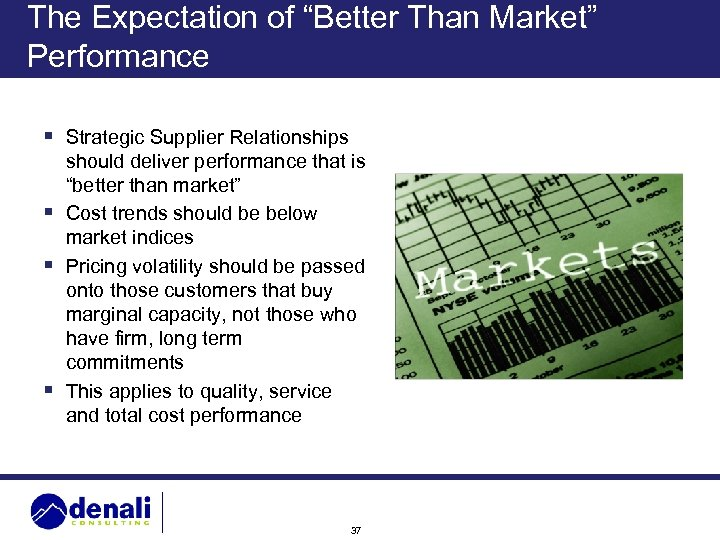 """The Expectation of """"Better Than Market"""" Performance § Strategic Supplier Relationships should deliver performance"""