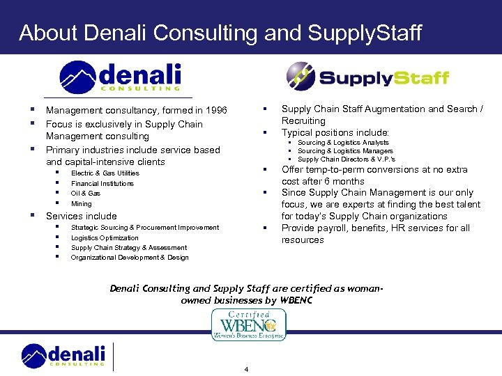 About Denali Consulting and Supply. Staff § Management consultancy, formed in 1996 § Focus