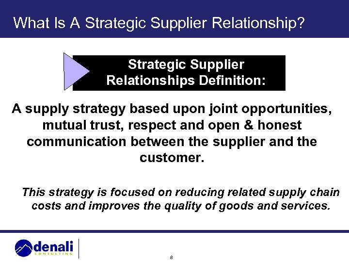 What Is A Strategic Supplier Relationship? Strategic Supplier Relationships Definition: A supply strategy based