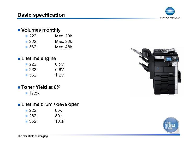 Basic specification n Volumes monthly n n n 222 282 362 0. 5 M