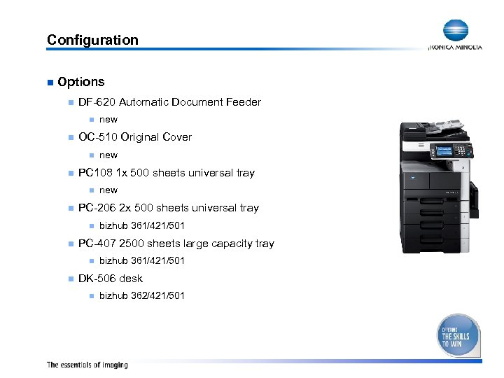Configuration n Options n DF-620 Automatic Document Feeder n n OC-510 Original Cover n