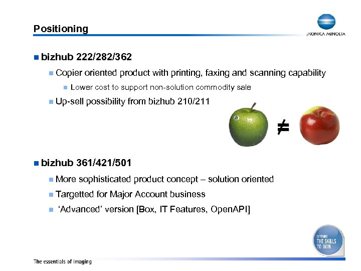 Positioning n bizhub 222/282/362 n Copier n oriented product with printing, faxing and scanning