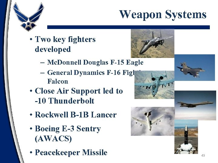 Weapon Systems • Two key fighters developed – Mc. Donnell Douglas F-15 Eagle –