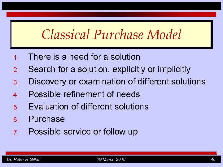 Classical Purchase Model 1. 2. 3. 4. 5. 6. 7. There is a need