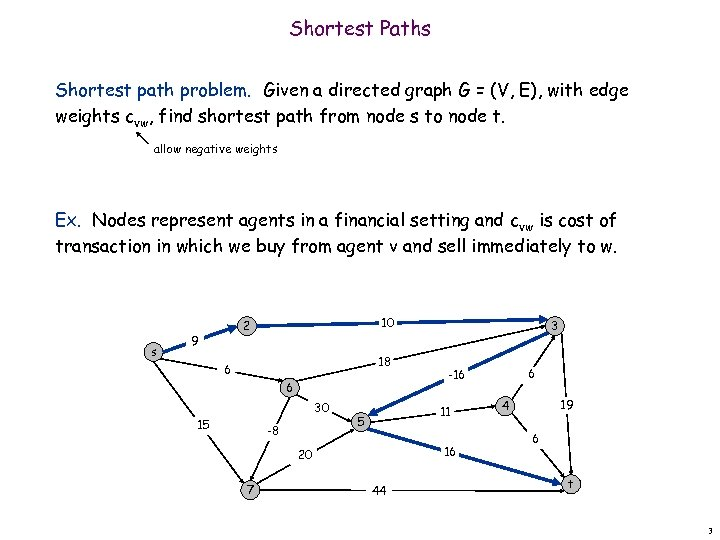 Shortest Paths Shortest path problem. Given a directed graph G = (V, E), with