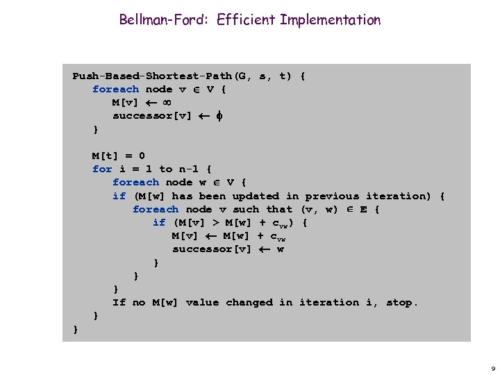 Bellman-Ford: Efficient Implementation Push-Based-Shortest-Path(G, s, t) { foreach node v V { M[v] successor[v]