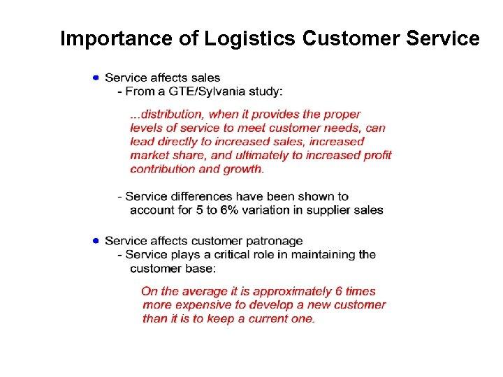 Importance of Logistics Customer Service