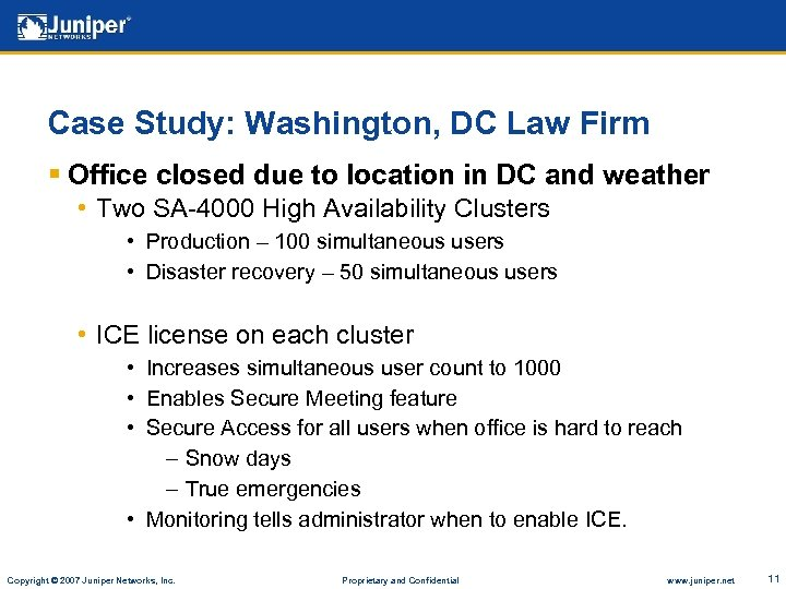 Case Study: Washington, DC Law Firm § Office closed due to location in DC