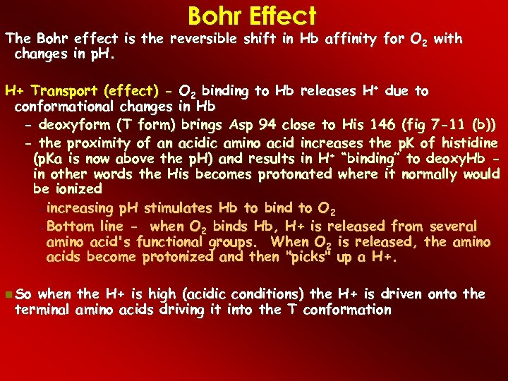 Bohr Effect The Bohr effect is the reversible shift in Hb affinity for O