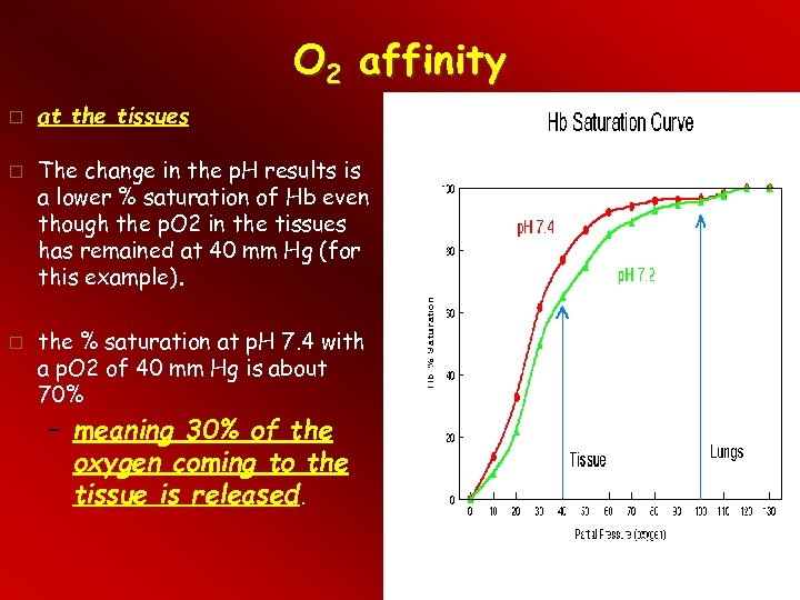 O 2 affinity at the tissues The change in the p. H results is