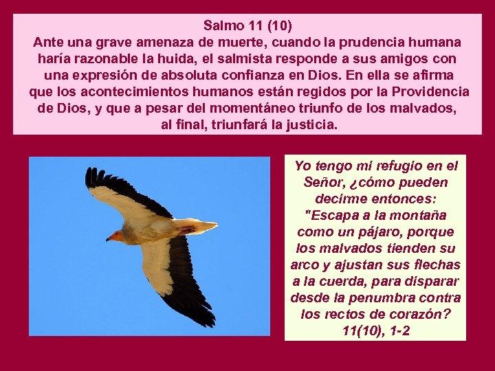 Salmo 11 (10) Ante una grave amenaza de muerte, cuando la prudencia humana haría