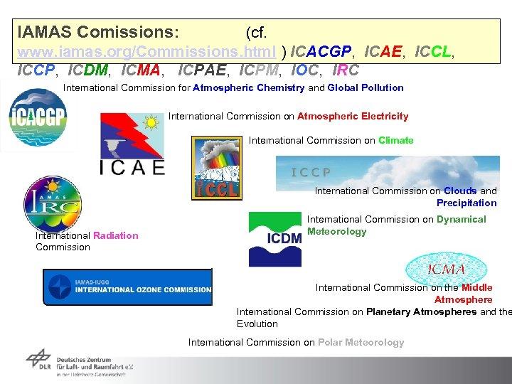 IAMAS Comissions: (cf. www. iamas. org/Commissions. html ) ICACGP, ICAE, ICCL, ICCP, ICDM, ICMA,