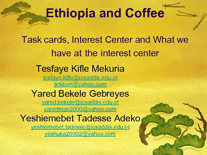 Ethiopia and Coffee Task cards, Interest Center and What we have at the interest