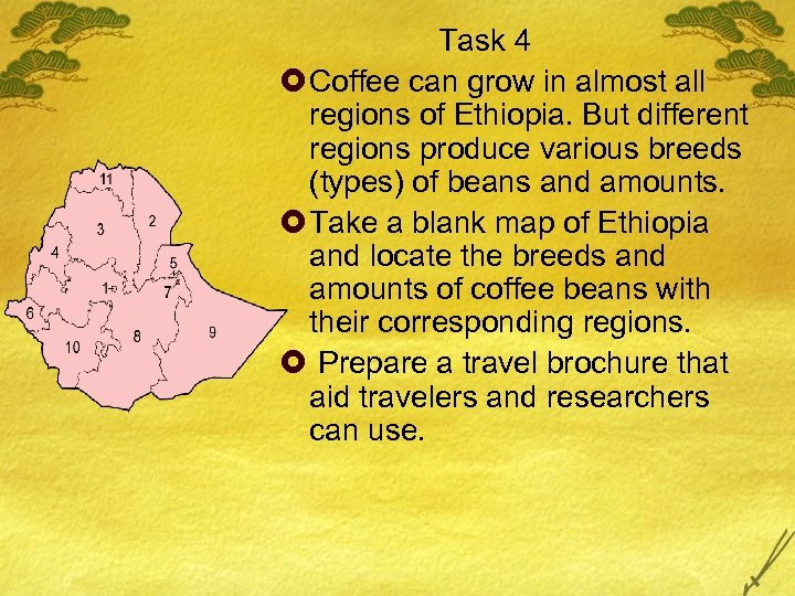 Task 4 £ Coffee can grow in almost all regions of Ethiopia. But different