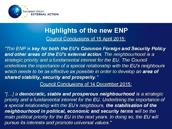 Highlights of the new ENP Council Conclusions of 15 April 2015: