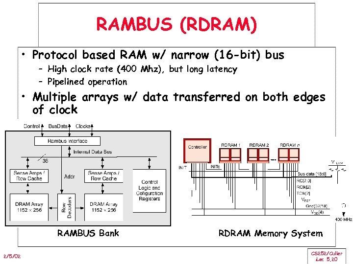 RAMBUS (RDRAM) • Protocol based RAM w/ narrow (16 -bit) bus – High clock