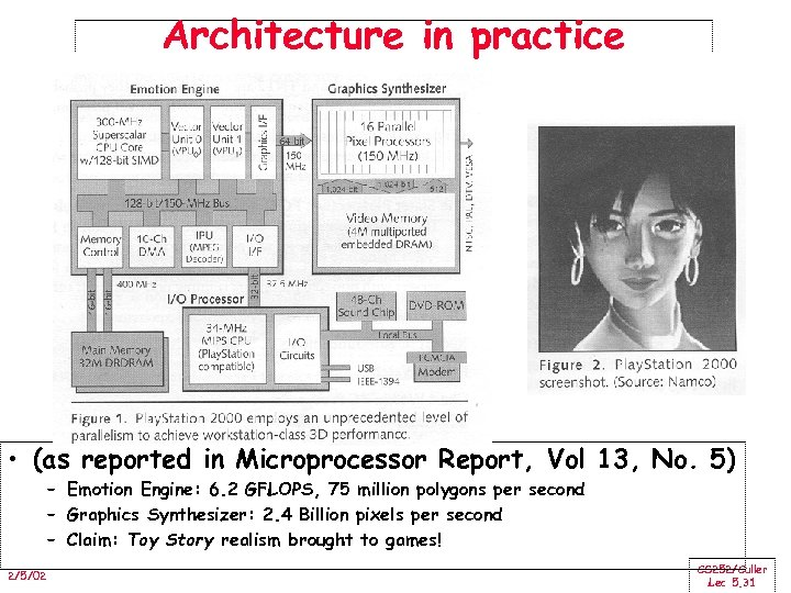 Architecture in practice • (as reported in Microprocessor Report, Vol 13, No. 5) –