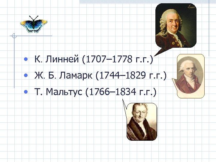 • К. Линней (1707– 1778 г. г. ) • Ж. Б. Ламарк (1744–